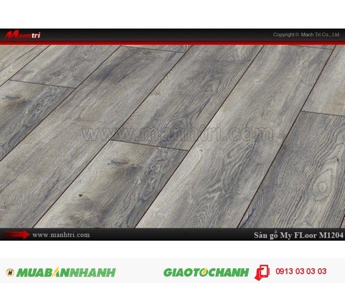 Sàn gỗ công nghiệp My Floor M1204 | Qui cách: 1375 x 188 x 12 mm | Ứng dụng: Thi công lắp đặt làm sàn gỗ nội thất trong nhà, phòng khách, phòng ngủ, phòng ăn, showroom, trung tâm thương mại, shopping, sàn thi đấu. Giá bán: 524.000VND, 4