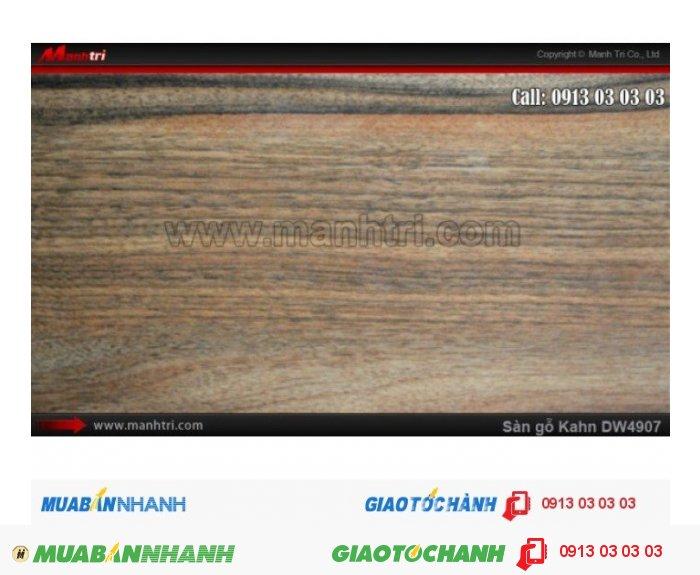 Sàn gỗ công nghiệp Kahn W4907, dày 12.3mm, độ bền cao | Qui cách: 1375 x 188x 12.3mm | Chống trầy: AC5 | Ứng dụng: Thi công lắp đặt làm sàn gỗ nội thất trong nhà, phòng khách, phòng ngủ, phòng ăn, showroom, trung tâm thương mại, shopping, sàn thi đấu. Giá bán: 469.000VND, 3
