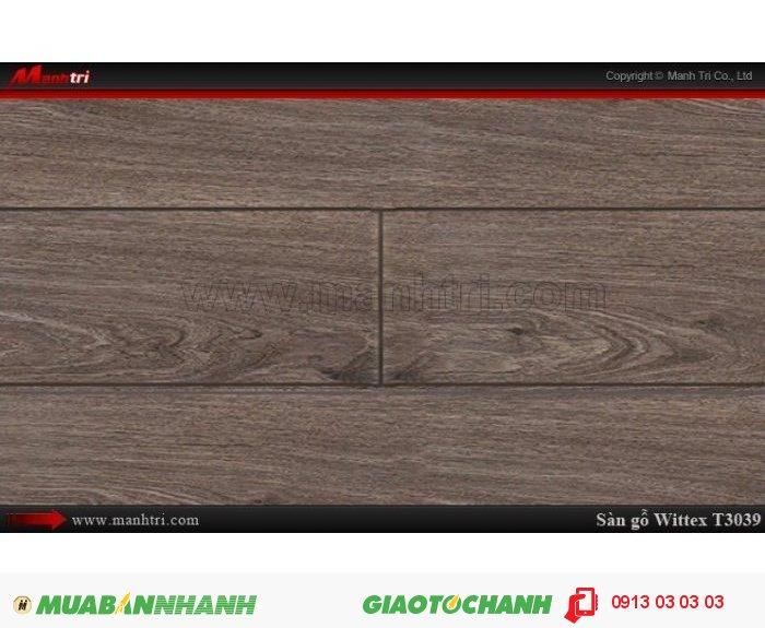Sàn gỗ công nghiệp Wittex T3039 | Qui cách: 1215 x 195 x 8.3mm | Ứng dụng: Thi công lắp đặt làm sàn gỗ nội thất trong nhà, phòng khách, phòng ngủ, phòng ăn, showroom, trung tâm thương mại, shopping, sàn thi đấu. Giá bán: 149.000VND, 5