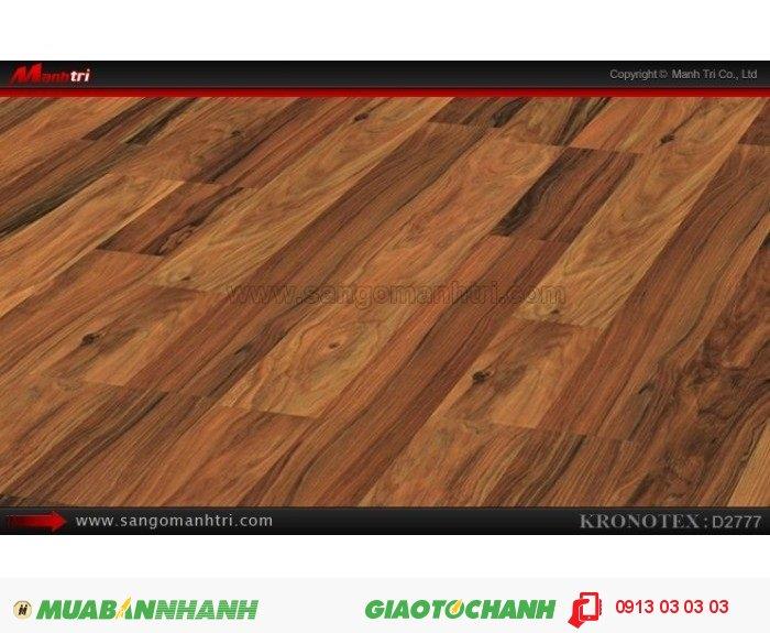 Sàn gỗ công nghiệp Kronotex D2777, dày 8mm | Qui cách: 1380 x 193 x 8mm | Chống trầy: AC4 | Ứng dụng: Thi công lắp đặt làm sàn gỗ nội thất trong nhà, phòng khách, phòng ngủ, phòng ăn, showroom, trung tâm thương mại, shopping, sàn thi đấu. Giá bán: 280.000VND, 1