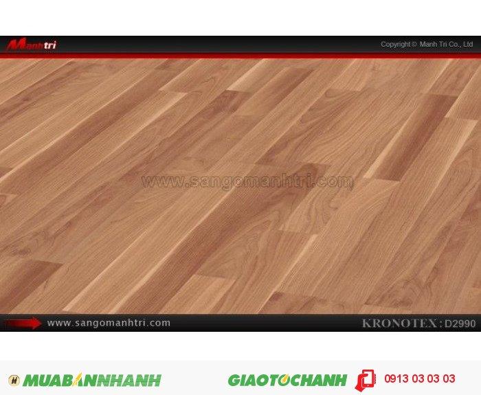 Sàn gỗ công nghiệp Kronotex D2990, dày 8mm | Qui cách: 1380 x 193 x 8mm | Chống trầy: AC4 | Ứng dụng: Thi công lắp đặt làm sàn gỗ nội thất trong nhà, phòng khách, phòng ngủ, phòng ăn, showroom, trung tâm thương mại, shopping, sàn thi đấu. Giá bán: 280.000VND, 4