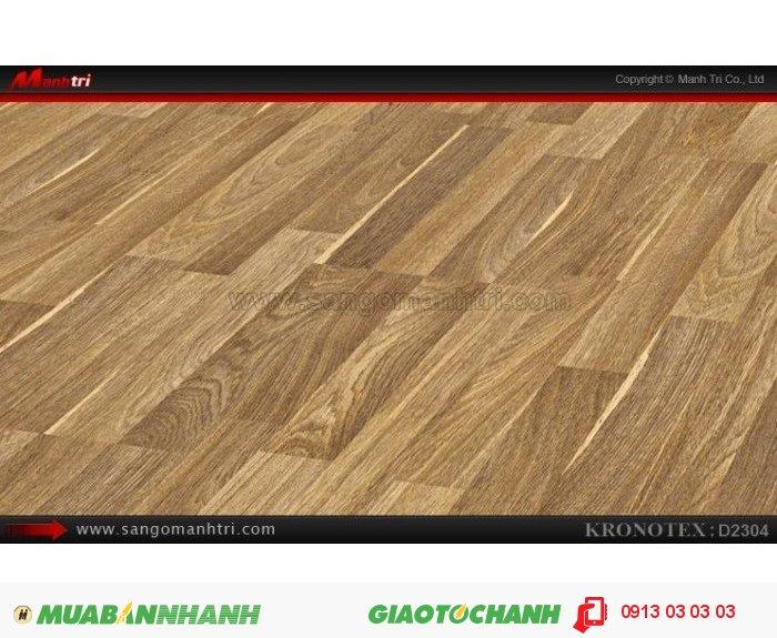 Sàn gỗ công nghiệp Kronotex D2304, dày 8mm | Qui cách: 1380 x 193 x 8mm | Chống trầy: AC4 | Ứng dụng: Thi công lắp đặt làm sàn gỗ nội thất trong nhà, phòng khách, phòng ngủ, phòng ăn, showroom, trung tâm thương mại, shopping, sàn thi đấu.Giá bán: 280.000VND, 3