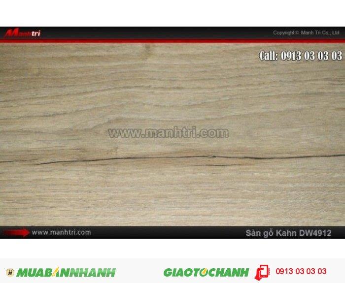 Sàn gỗ công nghiệp Kahn DW4912, dày 12.3mm, độ bền cao | Qui cách: 1375 x 188x 12.3mm | Chống trầy: AC5 | Ứng dụng: Thi công lắp đặt làm sàn gỗ nội thất trong nhà, phòng khách, phòng ngủ, phòng ăn, showroom, trung tâm thương mại, shopping, sàn thi đấu. Giá bán: 469.000VND, 3