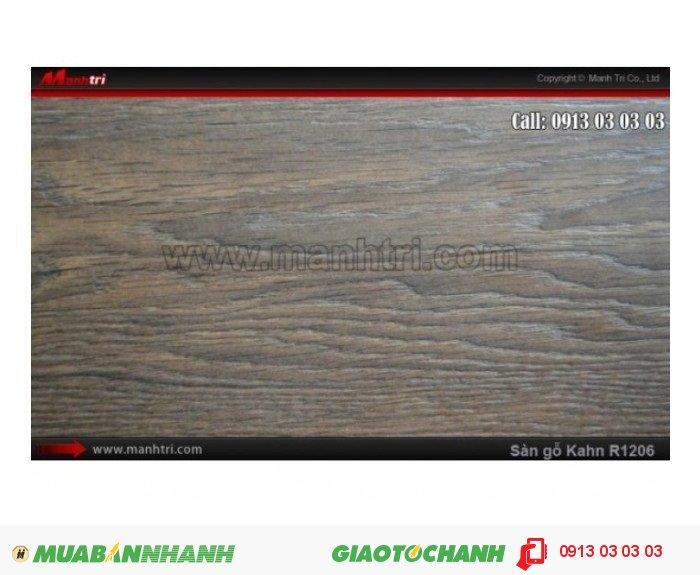 Sàn gỗ công nghiệp Kahn R1206, dày 12mm, độ bền cao | Qui cách: 1845 x 188 x 12 mm | Xuất xứ: Công nghệ Đức - Chống trầy: AC5 | Ứng dụng: Thi công lắp đặt làm sàn gỗ nội thất trong nhà, phòng khách, phòng ngủ, phòng ăn, showroom, trung tâm thương mại, shopping, sàn thi đấu. Giá bán: 619.000VND, 4