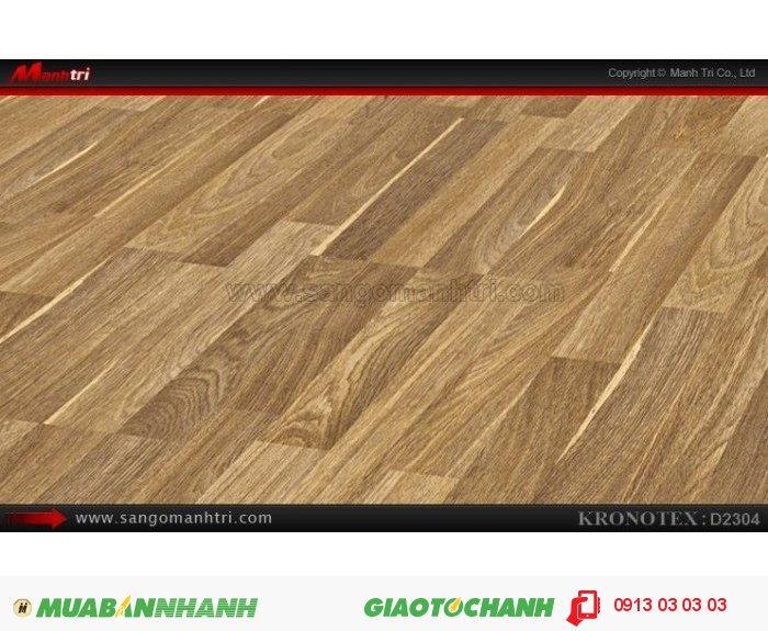 Sàn gỗ công nghiệp Kronotex D2304, dày 8mm | Qui cách: 1380 x 193 x 8mm | Chống trầy: AC4 | Ứng dụng: Thi công lắp đặt làm sàn gỗ nội thất trong nhà, phòng khách, phòng ngủ, phòng ăn, showroom, trung tâm thương mại, shopping, sàn thi đấu. Giá bán: 280.000VND, 5