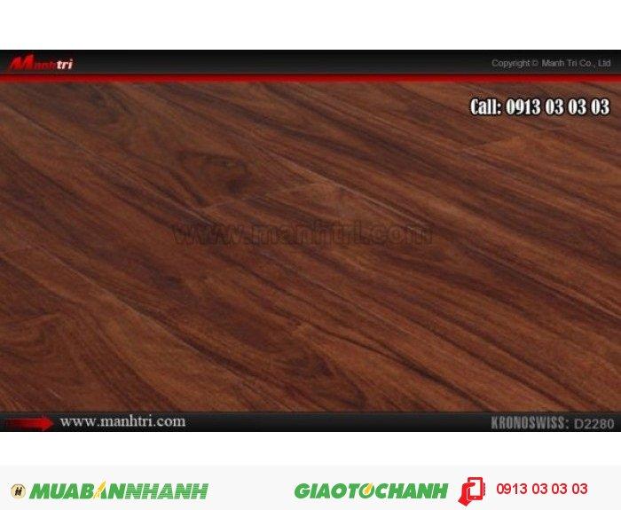 Sàn gỗ công nghiệp Kronoswiss D2280, dày 8mm | Qui cách: 1380 x 159 x 8mm | Ứng dụng: Thi công lắp đặt làm sàn gỗ nội thất trong nhà, phòng khách, phòng ngủ, phòng ăn, showroom, trung tâm thương mại, shopping, sàn thi đấu. Giá bán: 379.000VND, 1