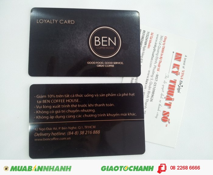 In thẻ nhựa Loyalty Card cho Ben Coffee House