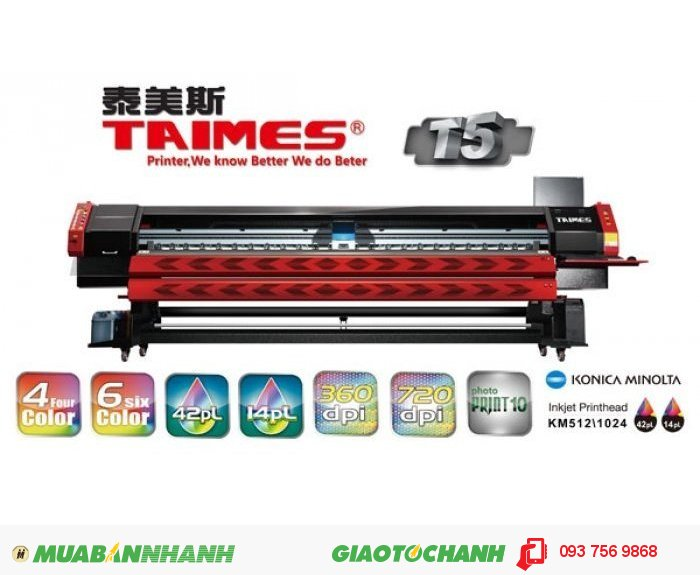 Máy in kỹ thuật số khổ lớn TAIMES T5 | Khổ in: 3200mm (10.5ft) | Độ phân giải: Độ phân giải 360DPI (Physical) và Độ phân giải 720DPI (Physical) | Chế độ in - Tốc Độ (m2/h) | Nguyên liệu: chiều rộng 3300mm (10.8ft); loại: Vinyl,Flex,Polyester,Back-lit Film, Window Film,etc; Tự động truyền Nguyên Liệu: Trang bị (tối đa Trọng lượng phương tiện 120kg); Hệ thống làm sạch tự động: Áp suất tích cực làm sạch chống tắc nghẽn; Trước khi làm nóng và sấy hệ thống: Trang bị (sấy hệ thống bắt buộc)., 4