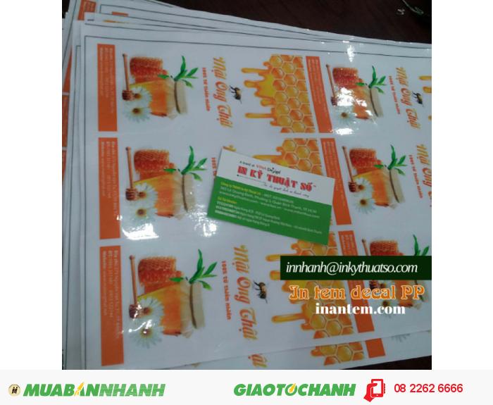 In tem decal trong dán nhãn chai mật ong bằng thủy tinh cho khách hàng - in ấn trực tiếp tại In Kỹ Thuật Số, 1