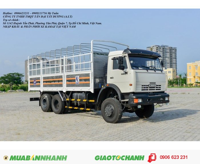 Tải thùng 3 cầu Kamaz, Kamaz 53228 (6x6) | Bán xe tải 3 cầu tại Bình Dương