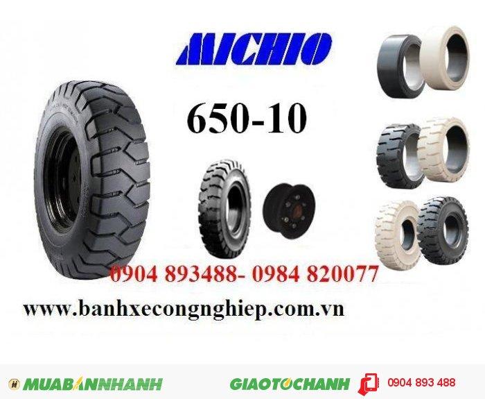 Bánh đặc xe nâng Michio 650-10 Thái Lan, lốp xe nâng thái lan, vỏ xe nâng Michio giá rẻ