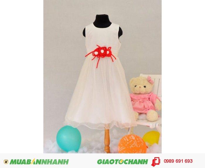 Đầm bé gái 3 bông hồng trắng0