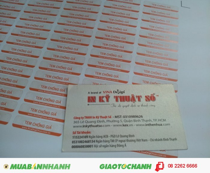 In tem decal chống giả trên chất liệu decal giấy cho khách hàng tại In Kỹ Thuật S...