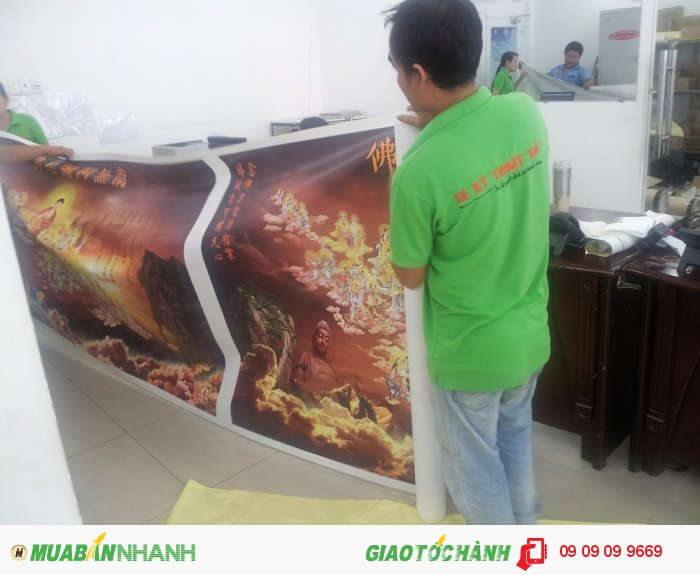 In canvas cúng dường cho chùa từ In Kỹ Thuật Số   In canvas mực dầu bóng, tranh in...