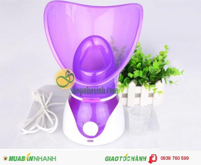 Các bộ phận chính bao gồm: thân máy, cốc để đo lượng nước, Máy xông hơi sử dụng cho toàn bộ khuôn mặt, mặt nạ xông hơi cho mũi và miệng.