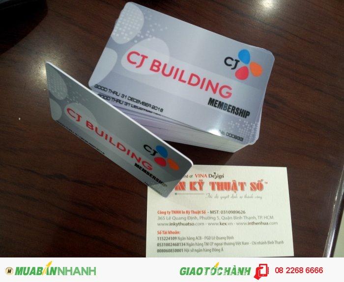 In thẻ nhựa cao cấp, in thẻ Membership cho CJ Building tại TPHCM, thực hiện bởi In K...