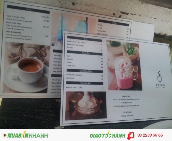 In menu thực đơn treo tường khổ lớn cho quán trà sữa, quán cà phê | In PP cán for...