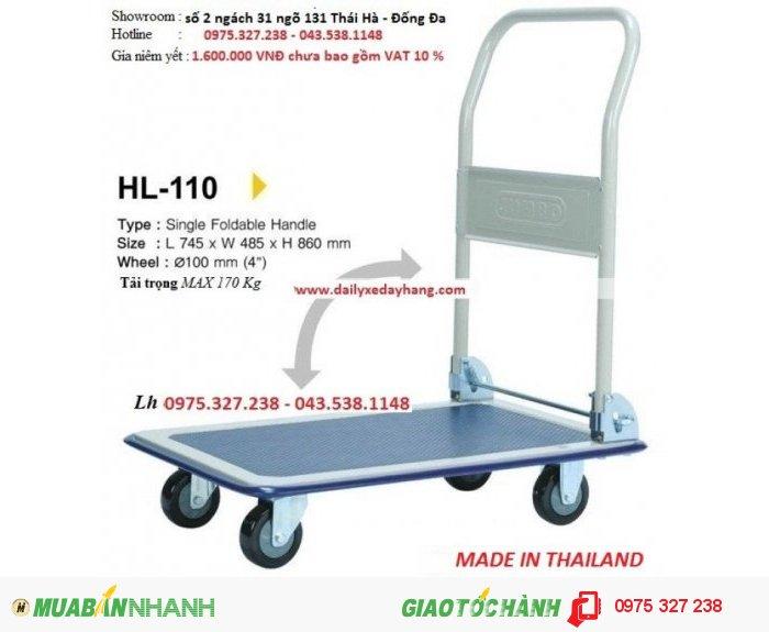 Trọng tải: 170 kg  Sàn làm bằng thép  Kiểu xe: Xe dẩy tay, có thể gấp gọn lại  Kích thước: dài x rộng:740 x485mm  Tay đẩy có chiều cao: 860m  Bánh xe làm bằng cao su, đường kính bánh xe 100mm3