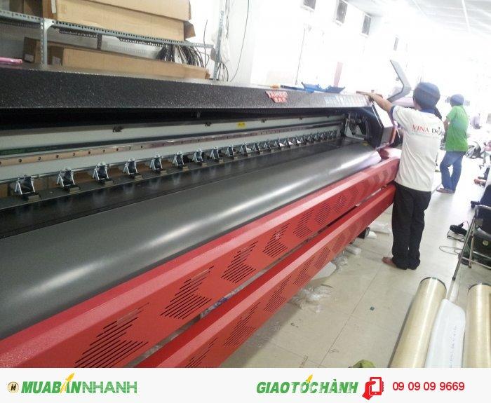 Máy in mực dầu khổ lớn, gồm nhiều máy in, khổ máy in 3.2m chuyên đảm trách in...