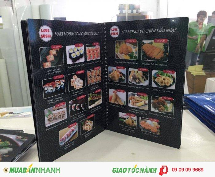 In thực đơn nhà hàng Love Sushi   Nền thực đơn đen với hoa văn mây cuộn phong cá...