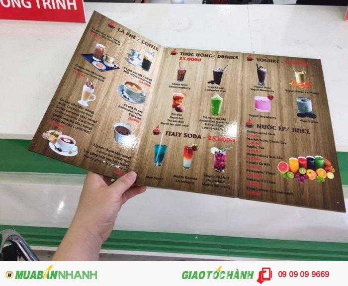 In thực đơn quán cà phê Bami Coffee   Là mẫu thực đơn kiểu mới, chất liệu PP c...