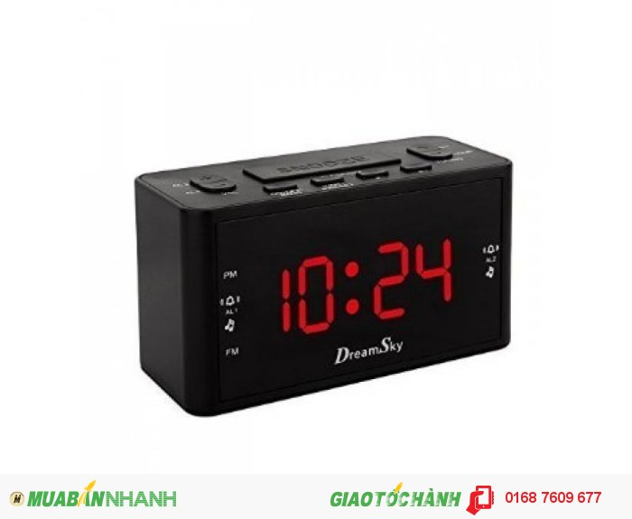 DreamSky Large Display Dual Alarms Clock With AM/FM Radio ,Battery Backup ,Sleep Timer And Snooze , 2 Dimmer Optional