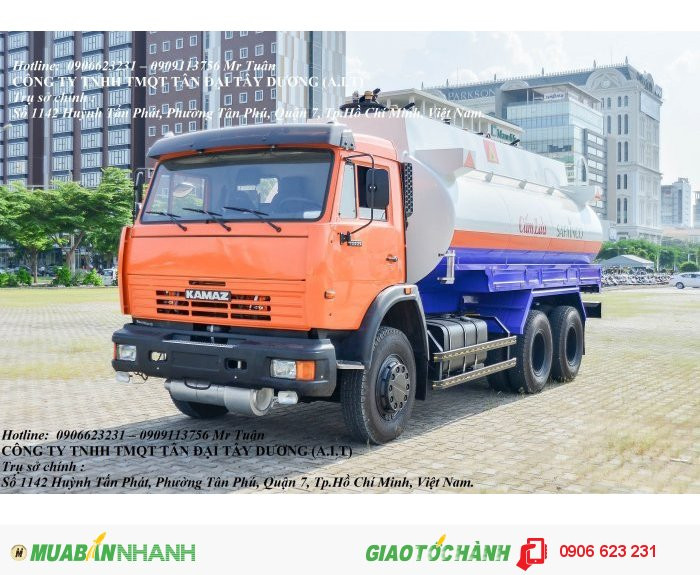 Xe xăng dầu Kamaz 18m3| Giá bán xe bồn Kamaz 3 chân 18m3 mới nhất