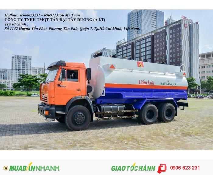 Xe xăng dầu Kamaz 18m3, Xe nhựa đường Kamaz, Khuyến mãi 100% trước bạ + máy lạnh