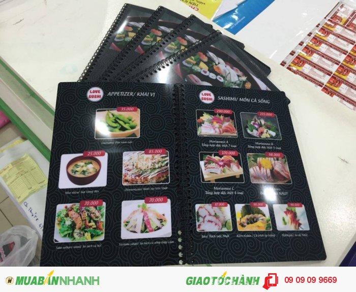 In menu nhà hàng Love Sushi | Nền menu đen với hoa văn mây cuộn phong cách rất Nhật...