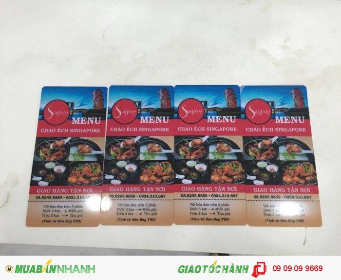 In menu cho nhà hàng Sentosa Food - Cháo Ếch Singapore | In menu nhựa khổ A5 đứng, cán...