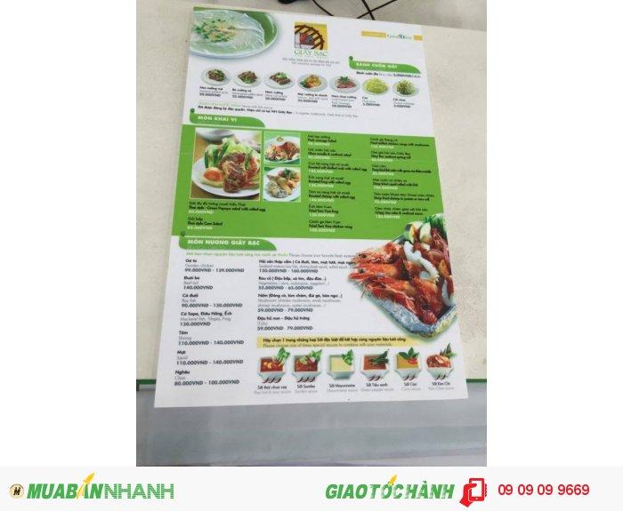 In menu cho quán nướng Giấy Bạc | Cuốn menu thiết kế với 2 tông màu chủ đạo l...