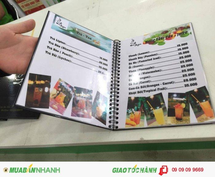 In thực đơn cho Bazan Coffee tại Quận 2, TPHCM | In thực đơn dạng cuốn đóng gáy l...