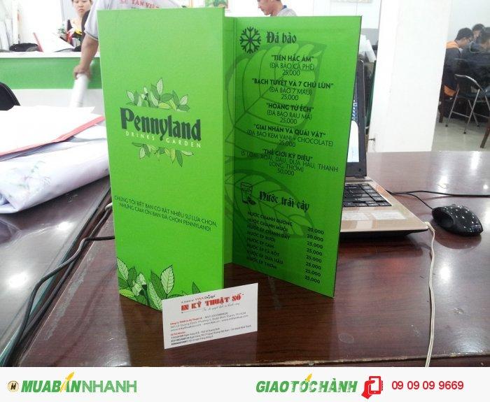 In menu cho quán cà phê Pennyland Drinks & Garden | In menu gấp 3, in menu PP bồi format vớ...