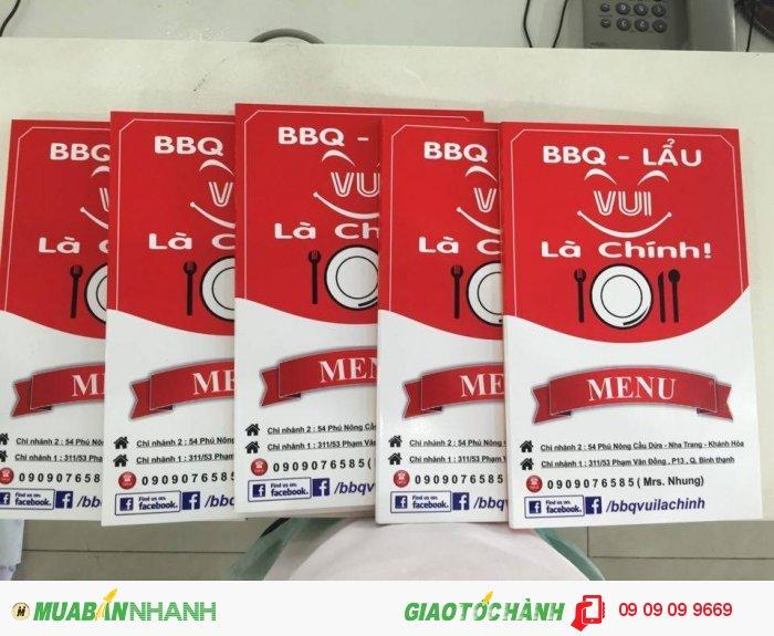 In thực đơn quán BBQ - Lẩu tại Bình Thạnh, TPHCM | In thực đơn số lượng ít t��...