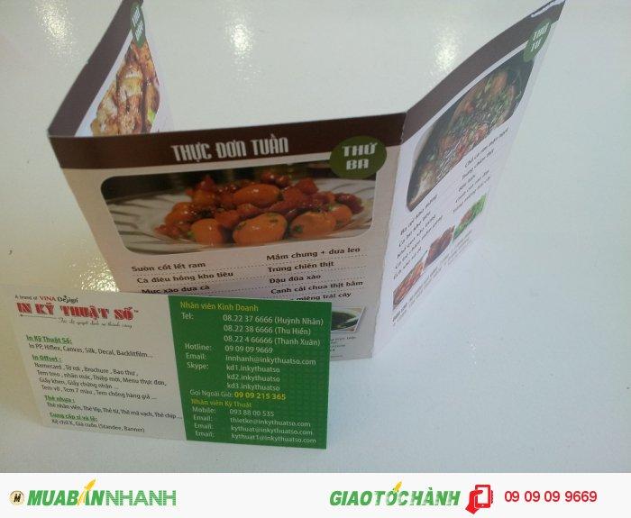 In brochure khổ nhỏ, in brochure mini dạng menu cho quán ăn, quán cơm | Thích hợp cho q...