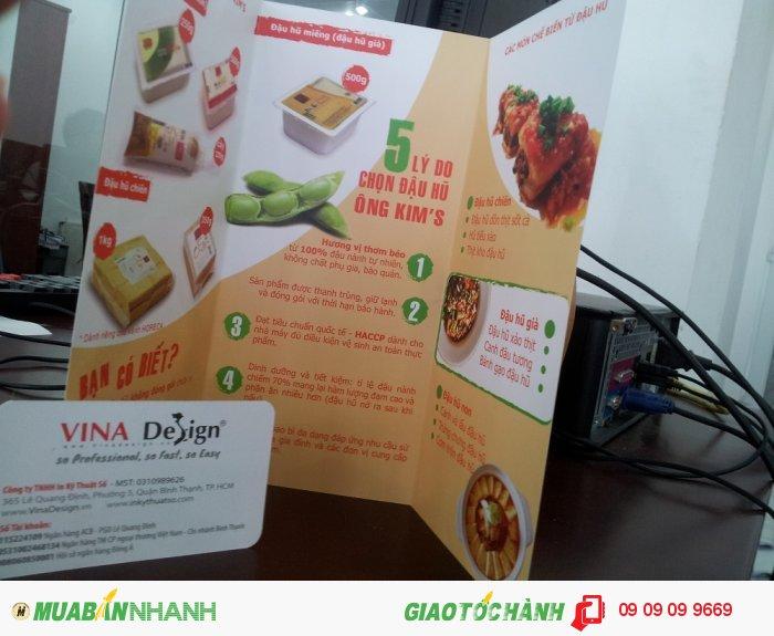 In brochure cho thương hiệu Ông Kim's - kim chi Hàn Quốc, đậu hủ, Cá rim kiểu Hàn,...