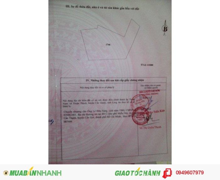 Bán đất mặt tiền Tỉnh lộ 826 mới  (HL20) ấp Thuận bắc, xã Thuận thành Tỉnh Long an