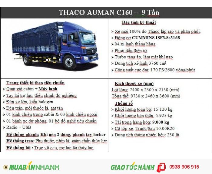 Xe Tải Thaco Auman C160, Thaco Auman C160 Tải Trọng 9 Tấn Thùng Dài 7.4M giá rẻ nhất tại Bình Dương