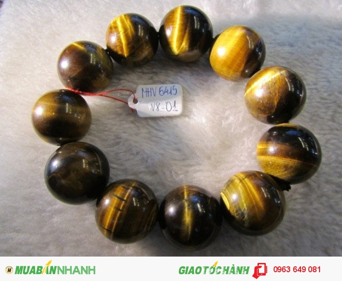 Vòng đeo tay đá Mắt Hổ Vàng thiên nhiên hạt tròn 20ly0