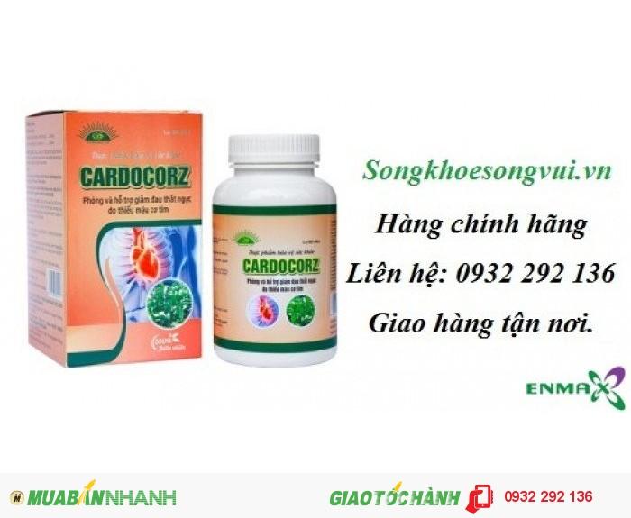 Cardocorz giúp giảm đau thắt mạch vành, hộp 60 viên. giá bán 240.000đ/ hộp. Giao hàng toàn quốc