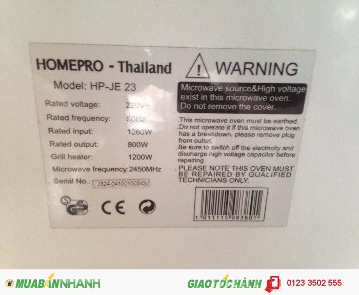 Lò vi sóng HomePro HP-JE23, dung tích 23 lít, kết hợp nướng
