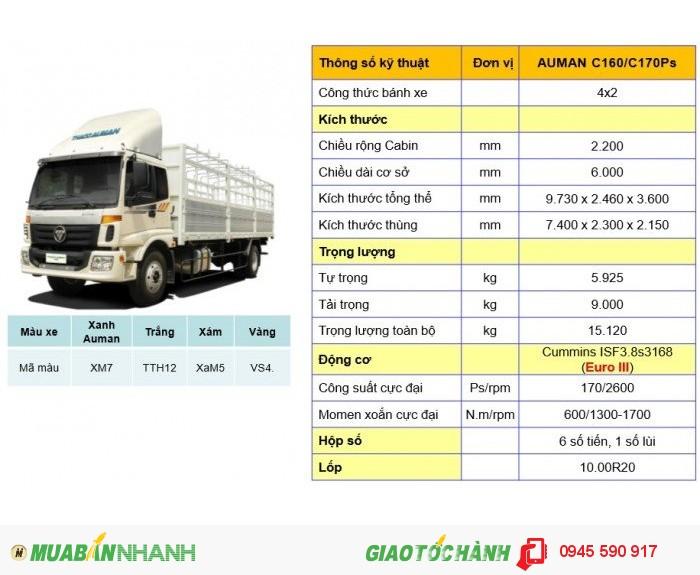 Xe tải Auman C160 2 giò 9 tấn, máy cummin 2