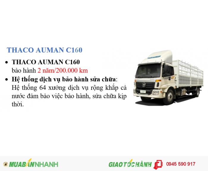 Xe tải Auman C160 2 giò 9 tấn, máy cummin 4