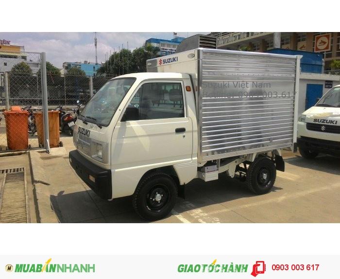 Xe tải suzuki 500kg thùng kín đóng từ nhà máy. Bán xe trả góp vay 75% giá trị xe.