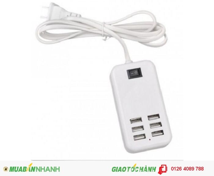 Cung cấp 6 cổng sạc USB (nguồn ra output 5V-1.0A và 5V-2.1A) phù hợp cho các thiết bị điện thoại và máy tính bảng.  Bên trong có IC điều khiển dòng điện nên an toàn cho mọi thiết bị sạc.  Dây nối điện cao cấp đảm bảo chịu tải cao và đủ dòng điện cho thiết bị.0