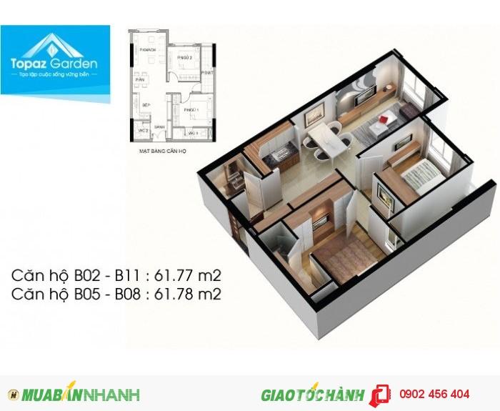 Cần bán căn hộ Topaz Garden,  DT 75m2, 2PN, giá 1.340 tỷ. LH: 0902456404