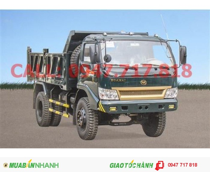 Xe tải ben Hoa Mai 6450kg,thùng 5,3 khối, có số mạnh,thắng hơi, lốc kê, 2016