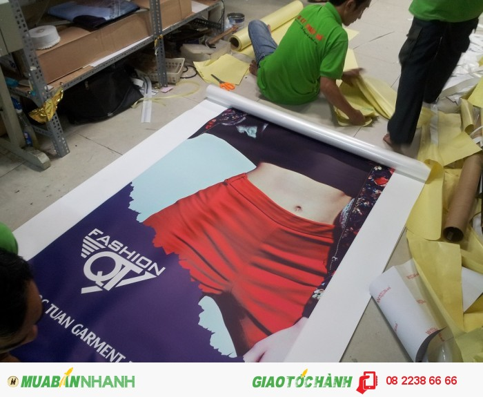 Thành phẩm in PP poster khi in xong được thợ gia công lành nghề của In Kỹ Thuật S...