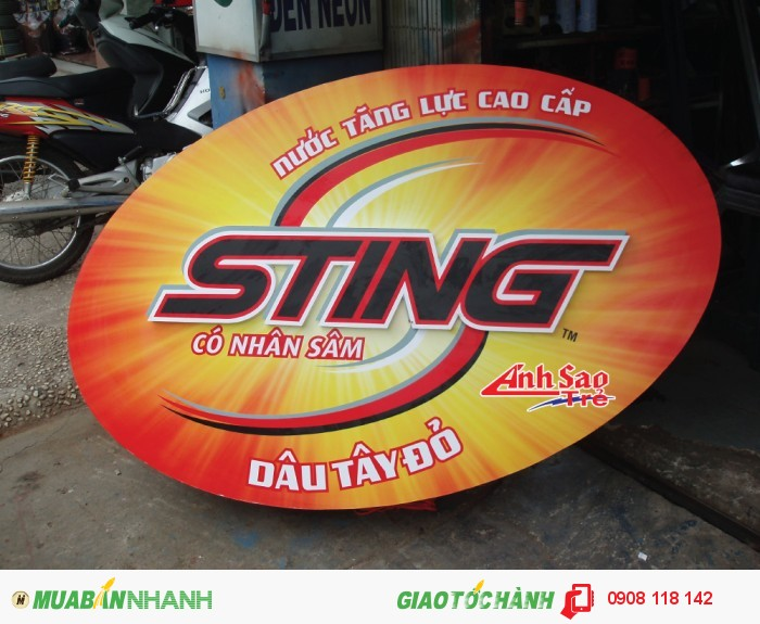 Ánh Sao Trẻ thi công bảng hiệu chữ nổi cho bảng quảng cáo Sting | Bảng hiệu với chữ màu đỏ cắt hình theo chữ khách gửi., 3