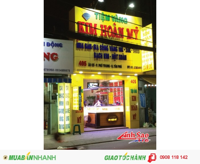 Ánh Sao trẻ nhận thiết kế và lắp đặt bảng hiệu quảng cáo Alu tiệm vàng Kim Hoàng Mỹ | kích thước và thiết kế dựa trên yêu cầu của khách hàng.